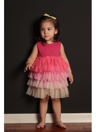 Colorinas Rainbow Baby Elbise Fuşya Fuşya